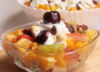 Whipped cream and cream cheese fruit salad